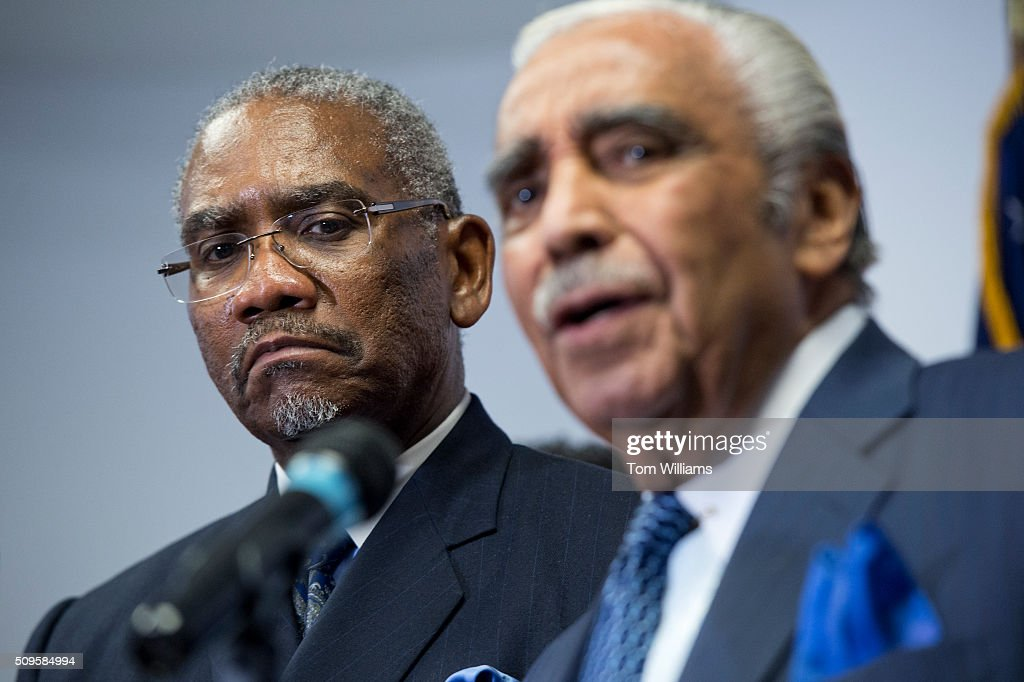 Reps. Gregory Meeks, D-N.Y., left, chairman of the Congressional Black Caucus PAC, and Charlie Rangel, D-N.Y., conduct a news conference at the DNC where members of the CBC PAC endorsed Hillary Clinton for president, February 11, 2016.