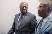 Reps James Clyburn DSC left and Gregory Meeks DNY arrive in the Capitol Visitor Center for a meeting with House Democrats June 22 2016 Democratic...
