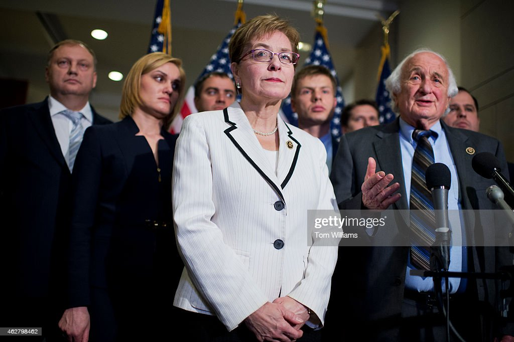 Reps. Marcy Kaptur, D-Ohio, and Sander Levin, D-Mich., conduct a news conference in the Capitol Visitor Center with members of the Ukrainian Parliament on the possibility of arming the Ukrainians in their conflict with Russian-backed rebels, February 5, 2015.