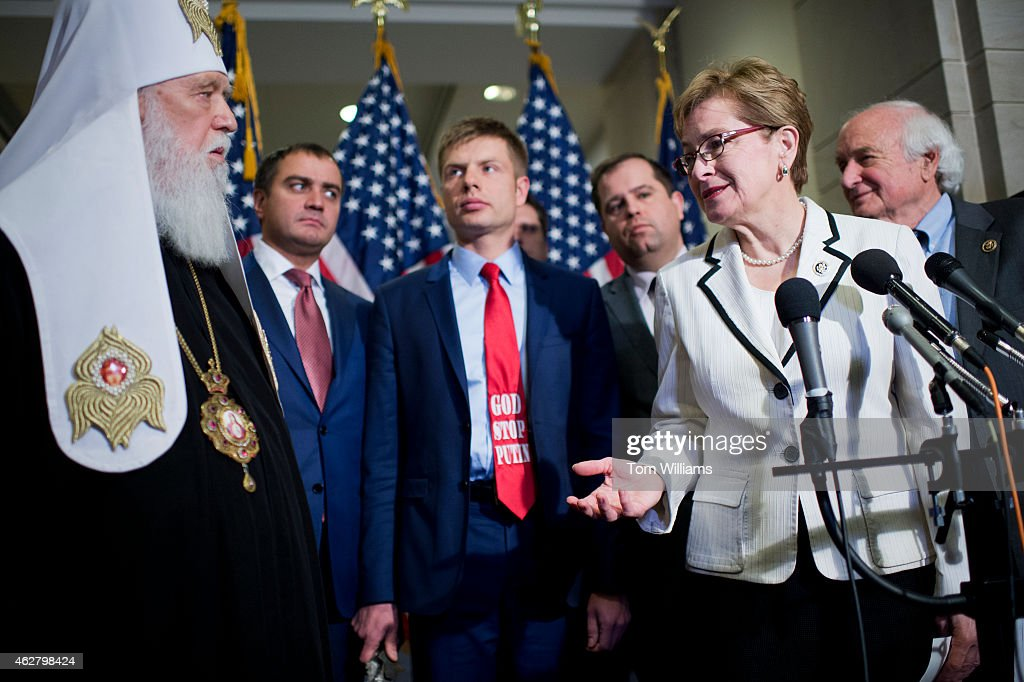 Reps. Marcy Kaptur, D-Ohio, and Sander Levin, D-Mich., right, conduct a news conference in the Capitol Visitor Center with Patriarch Filaret, left, of the Ukrainian Orthodox Church, and members of the Ukrainian Parliament on the possibility of arming the Ukrainians in their conflict with Russian-backed rebels, February 5, 2015.