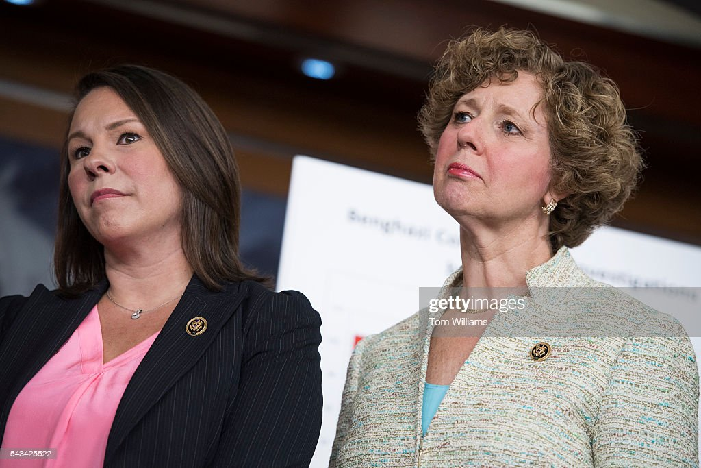 Reps. Martha Roby, R-Ala., left, and Susan Brooks, R-Ind., attend a news conference in the Capitol Visitor Center, June 28, 2016, to announce the Select Committee on Benghazi report on the 2012 attacks in Libya that killed four Americans.