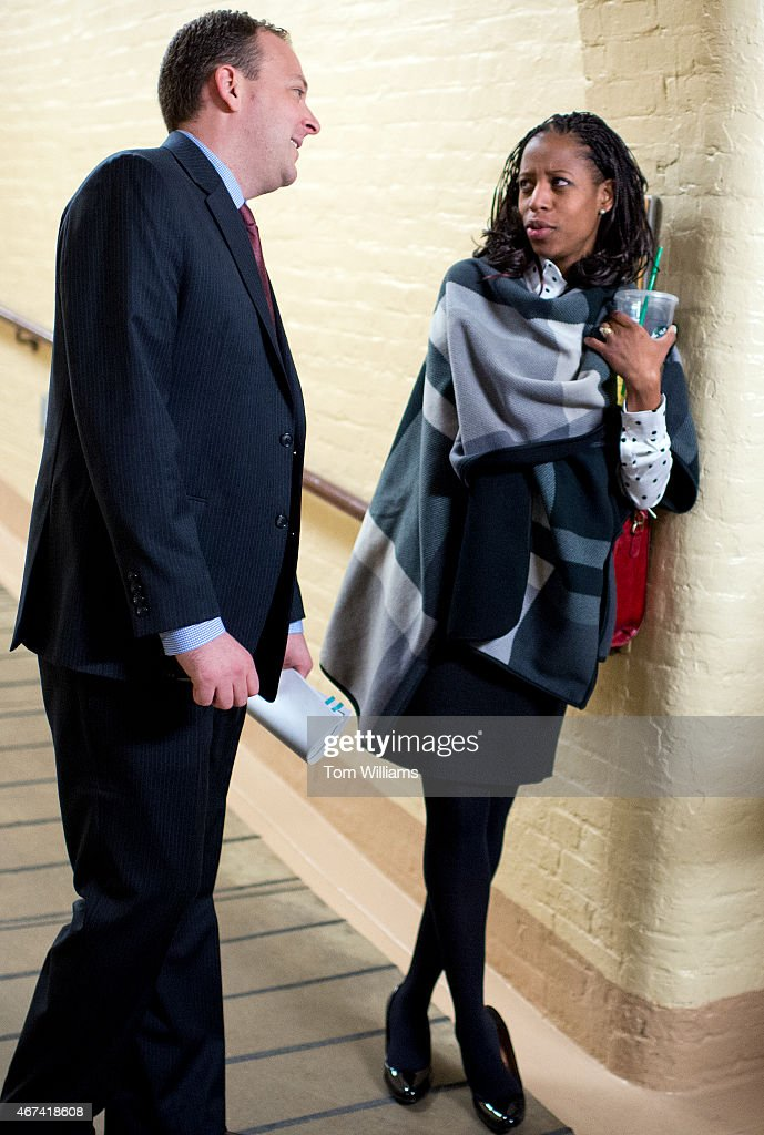 Reps. <a gi-track='captionPersonalityLinkClicked' href=/galleries/search?phrase=Mia+Love&family=editorial&specificpeople=8937528 ng-click='$event.stopPropagation()'>Mia Love</a>, R-Utah, and Lee Zeldin, R-N.Y., talk after a meeting of the House Republican Conference in the Capitol, March 24, 2015.