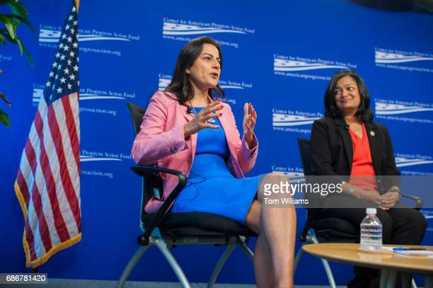 Reps Nanette Barragan DCalif left and Pramila Jayapal DWash participate in a panel discussion titled 'Beyond the Ambition Gap Challenging the Systems...
