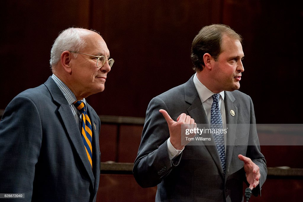 Reps. Paul Tonko, D-N.Y., left, and Andy Barr, R-Ky., prepare of news conference in the Capitol Visitor Center, April 28, 2016, on the 'Thoroughbred Horseracing Integrity Act,' which would create a uniform anti-doping program to provide oversight for the sport. Chef and racehorse owner Bobby Flay, testified.