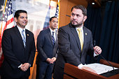 Reps Ruben Gallego DAriz right Raul Ruiz DCalif left and Joaquin Castro DTexas conduct a news conference in the Capitol Visitor Center on the...