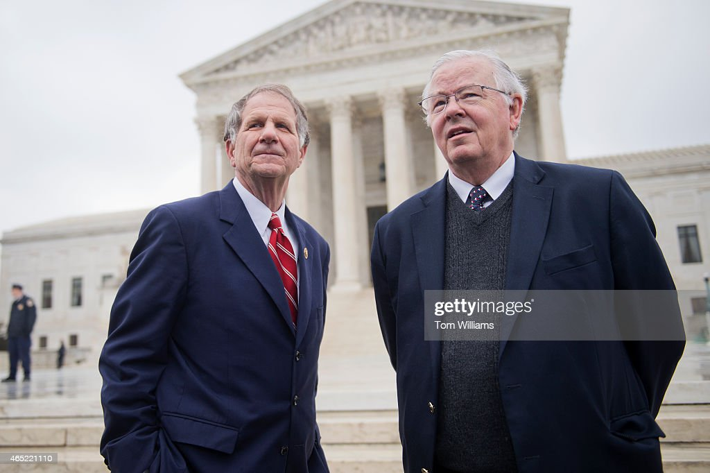 Reps. Ted Poe, R-Texas, left, and <a gi-track='captionPersonalityLinkClicked' href=/galleries/search?phrase=Joe+Barton&family=editorial&specificpeople=653902 ng-click='$event.stopPropagation()'>Joe Barton</a>, R-Texas, attend a rally outside of the Supreme Court during arguments in the King v. Burwell case which deals with tax credits in the Affordable Care Act, March 4, 2015.