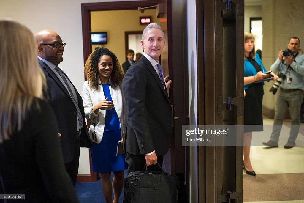 Reps. Trey Gowdy, R-S.C., chairman of the Select Committee on Benghazi, leaves a news conference in the Capitol Visitor Center, June 28, 2016, announcing the Committee's report on the 2012 attacks in Libya, that killed four Americans.
