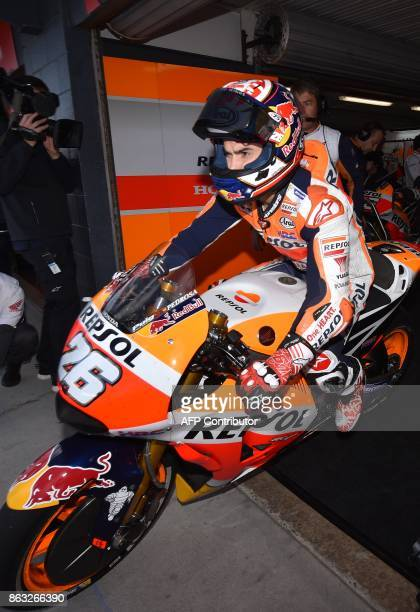 Repsol Honda Team rider Dani Pedrosa of Spain leaves his garage during the first practice session of the Australian MotoGP Grand Prix at Phillip...