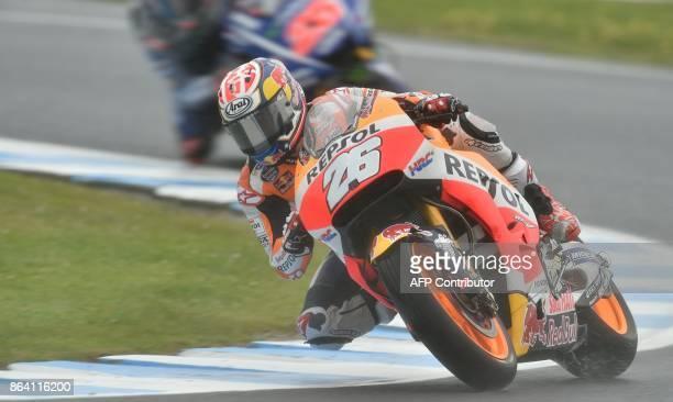 Repsol Honda Team rider Dani Pedrosa of Spain rides in the third practice session of the Australian MotoGP Grand Prix at Phillip Island on October 21...