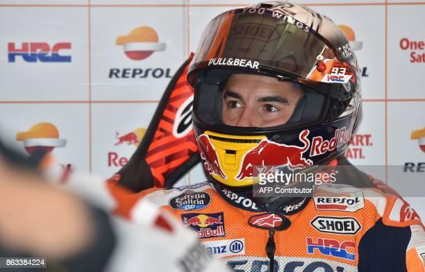Repsol Honda Team rider Marc Marquez of Spain prepares for the second practice session of the Australian MotoGP Grand Prix at Phillip Island on...