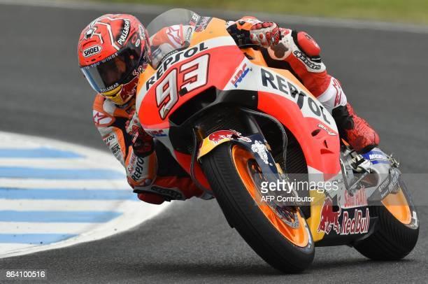 Repsol Honda Team rider Marc Marquez of Spain rides in the third practice session of the Australian MotoGP Grand Prix at Phillip Island on October 21...