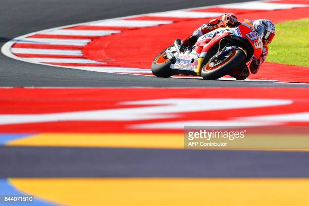 TOPSHOT Repsol Honda Team's Marc Marquez from Spain practices at the Marco Simoncelli Circuit in Misano on September 8 ahead of the San Marino Moto...