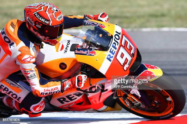 TOPSHOT Repsol Honda Team's Marc Marquez from Spain takes part in a practice session of the San Marino Moto GP Grand Prix race at the Marco...