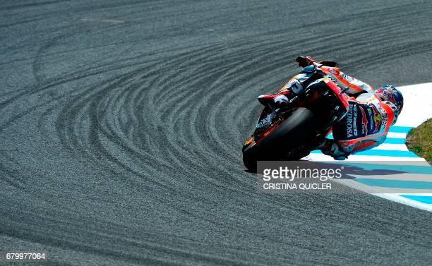 TOPSHOT Repsol Honda Team's Spanish rider Dani Pedrosa competes at Jerez de la Frontera during the Spanish Red Bull MotoGP Grand Prix at Jerez de la...