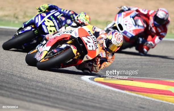 Repsol Honda Team's Spanish rider Dani Pedrosa rides during MotoGP race of the Moto Grand Prix of Aragon at the Motorland circuit in Alcaniz on...