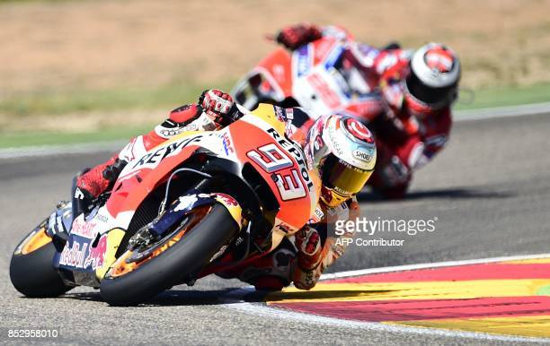 Repsol Honda Team's Spanish rider Marc Marquez rides during MotoGP race of the Moto Grand Prix of Aragon at the Motorland circuit in Alcaniz on...
