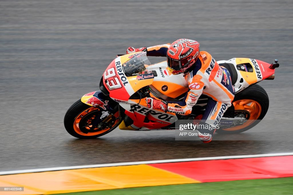 Repsol Honda Team's Spanish rider Marc Marquez rides during the Moto GP second free pratice of the Moto Grand Prix of Aragon at the Motorland circuit in Alcaniz on September 22, 2017. /