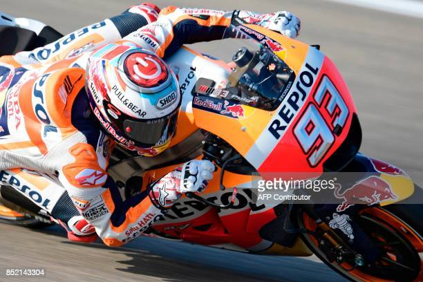 Repsol Honda Team's Spanish rider Marc Marquez rides during the Moto GP third free pratice of the Moto Grand Prix of Aragon at the Motorland circuit...