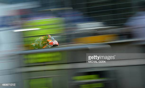 Repsol Honda Team's Spanish rider Marc Marquez rides during the second free practice session of the Moto GP Czech Grand Prix in Brno Czech Republic...