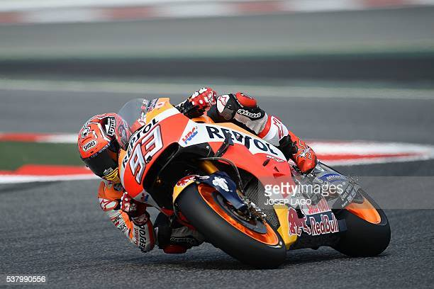 Repsol Honda Team's Spanish rider Marc Marquez rides in the chicane included in the racetrack due to yesterday Spanish rider Luis Salom's fatal...