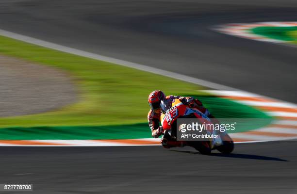 Repsol Honda Team's Spanish rider Marc Marquez takes a curve during the third MotoGP free practice session of the Valencia Grand Prix at Ricardo...