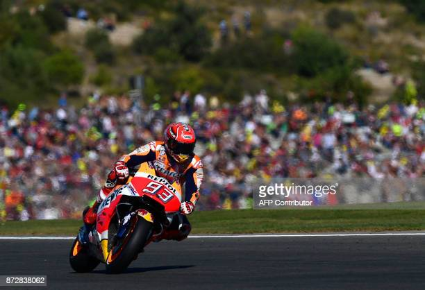 TOPSHOT Repsol Honda Team's Spanish rider Marc Marquez takes a curve during the fourth MotoGP free practice session of the Valencia Grand Prix at...
