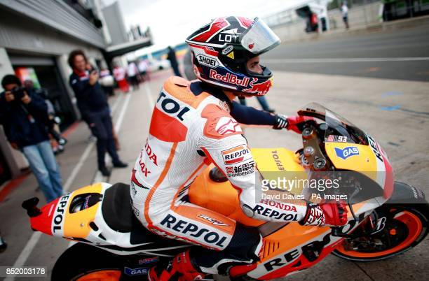 Repsol Honda's Marc Marquez during a practice session at Silverstone Northamptonshire