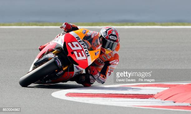 Repsol Honda's Marc Marquez of Spain during a practice session at Silverstone Northamptonshire