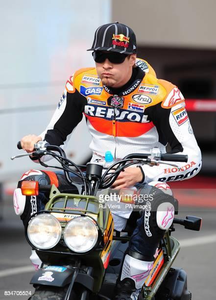Repsol Honda's Nicky Hayden arrives at Donington Park