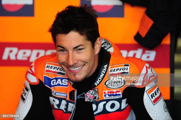Repsol Honda's Nicky Hayden in the pits before the bwincom British Motorcycle Grand Prix at Donington Park