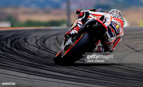 TOPSHOT Repsol Honda's Spanish rider Marc Marquez rides during the Moto GP second practice session ahead of the Aragon Grand Prix at the Motorland...