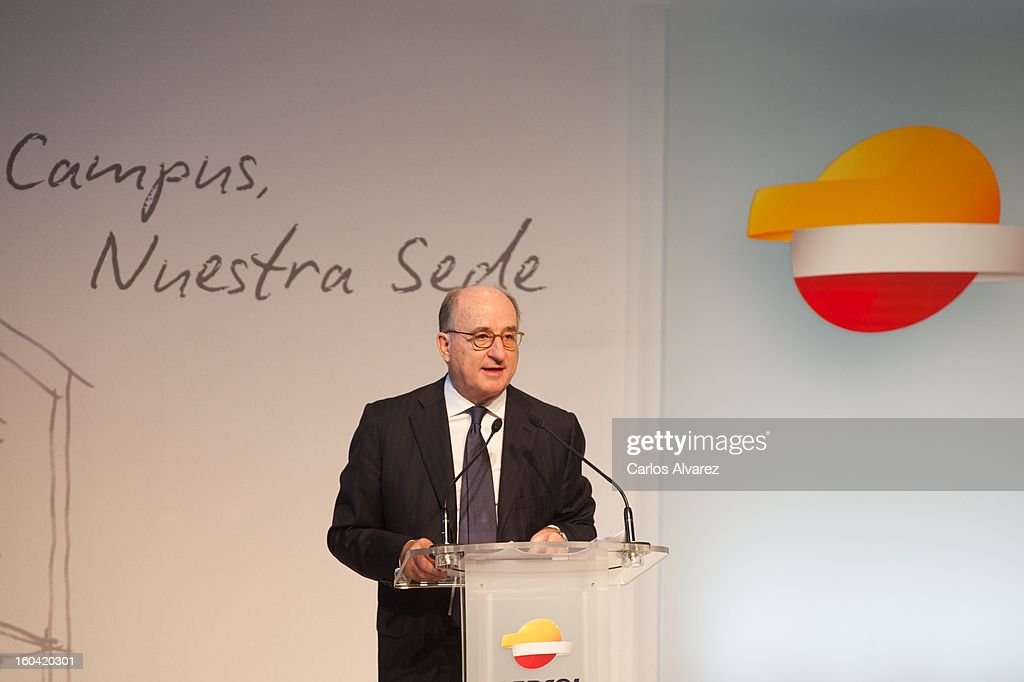 Repsol President Antonio Brufau delivers a speech during the visit to the new Repsol Headquarters on January 31, 2013 in Madrid, Spain.