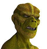3D rendered portrait of a reptilian alien.
