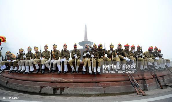 Republic Day parade rehearsal on a foggy winter morning in New Delhi