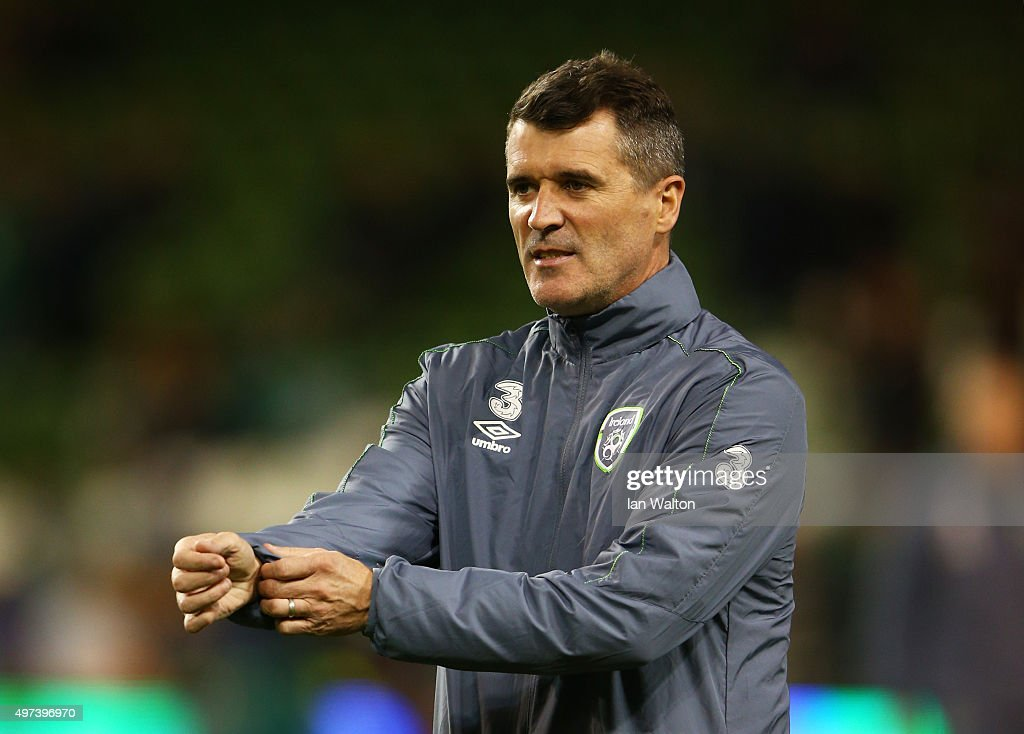 Republic of Ireland assistant coach Roy Keane looks on as his players warm up prior to kickoff during the UEFA EURO 2016 Qualifier play off second...