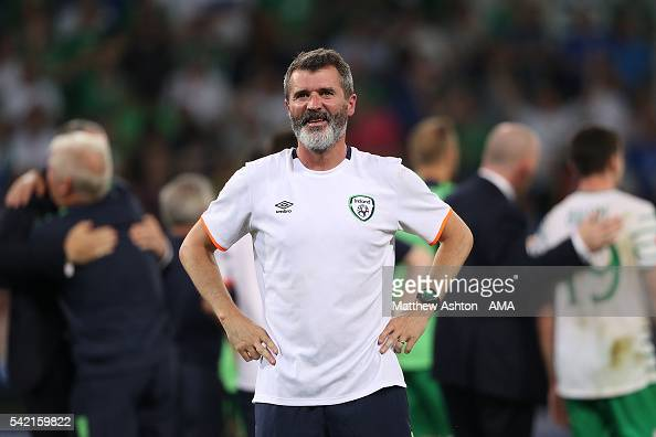 Republic of Ireland Assistant Coach Roy Keane reacts at the end of the UEFA EURO 2016 Group E match between Italy and Republic of Ireland at Stade...