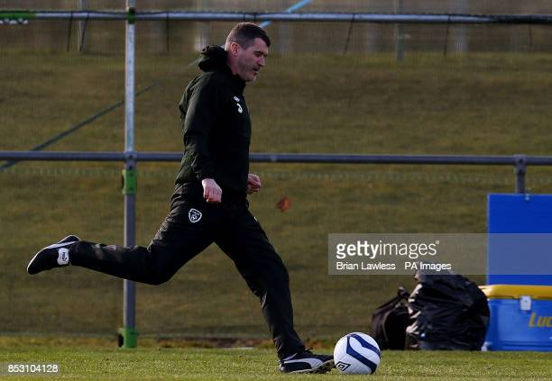 Republic of Ireland assistant manager Roy Keane during a training session at Gannon Park Malahide Ireland