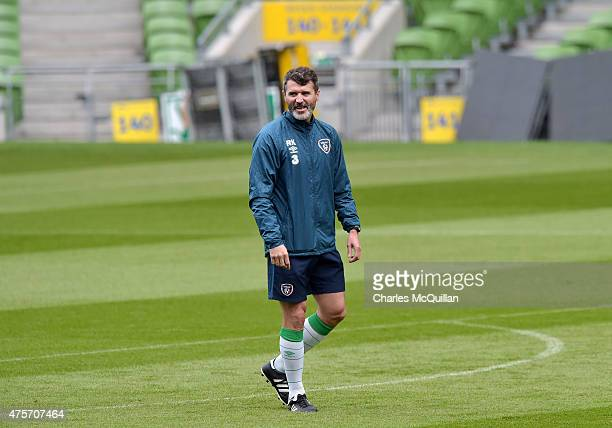 Republic of Ireland assistant manager Roy Keane during an open training session at Aviva Stadium on June 3 2015 in Dublin Ireland The Republic of...