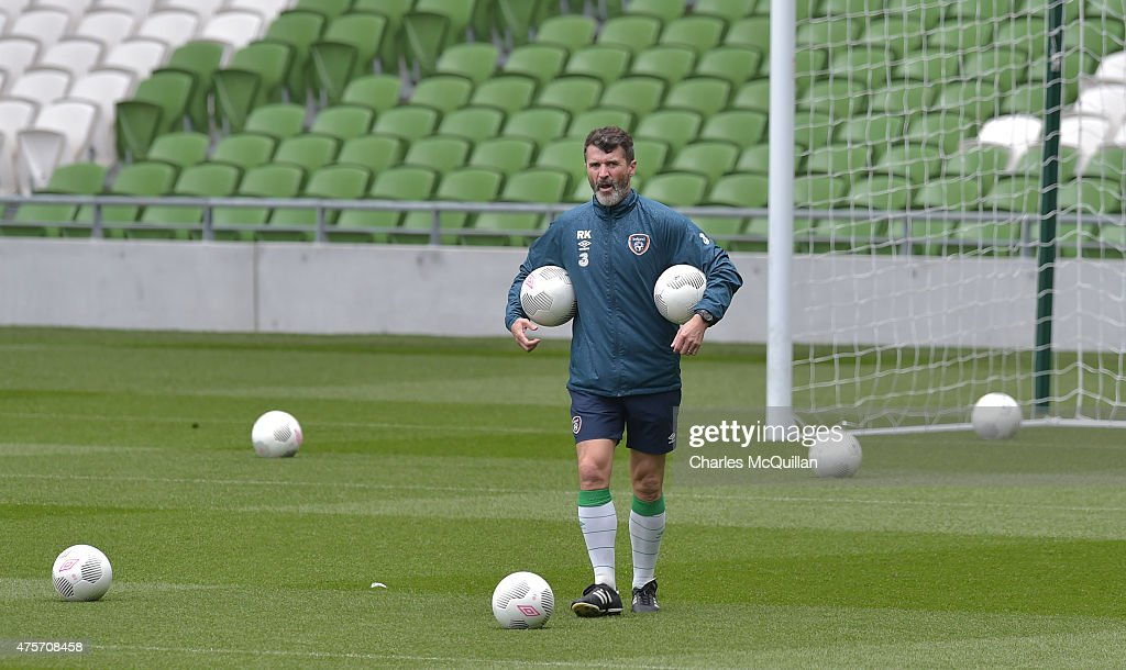 Republic of Ireland assistant manager Roy Keane (R) during an open training session at Aviva Stadium on June 3, 2015 in Dublin, Ireland. The Republic of Ireland play England in a friendly game this coming Sunday, the first meeting between the two sides in Dublin since the abandonment of a game in 1995 due to hooliganism.