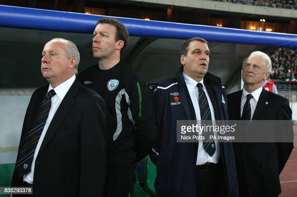 Republic of Ireland coach Liam Brady goalkeeper coach Alan Kelly assistant manager Marco Tardelli and manager Giovanni Trapattoni during the national...