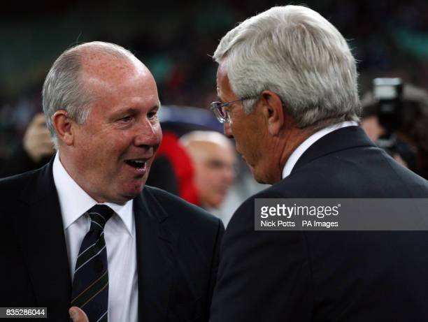 Republic of Ireland coach Liam Brady with Italy's Manager Marcello Lippi before the World Cup Qualifying match at the Stadio San Nicola Bari Italy