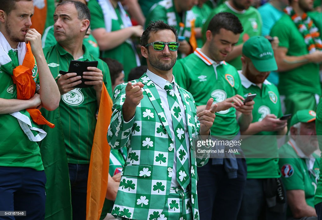 A Republic of Ireland fan wearing a clover suit during the UEFA EURO 2016 Round of 16 match between France and Republic of Ireland at Stade des Lumieres on June 26, 2016 in Lyon, France.