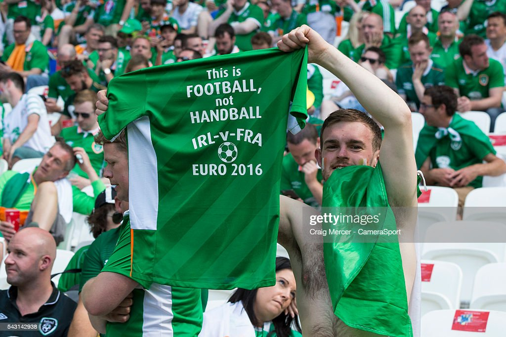 A Republic of Ireland fan with a t-shirt referring to an incident in the last game these two sides met during the UEFA Euro 2016 Round of 16 match between France v Republic of Ireland at Stade de Lyon on June 26 in Lyon, France.