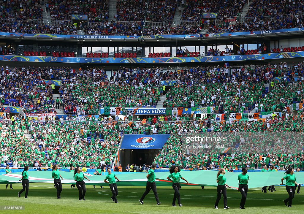 Republic of Ireland fans before the UEFA EURO 2016 Round of 16 match between France and Republic of Ireland at Stade des Lumieres on June 26, 2016 in Lyon, France.