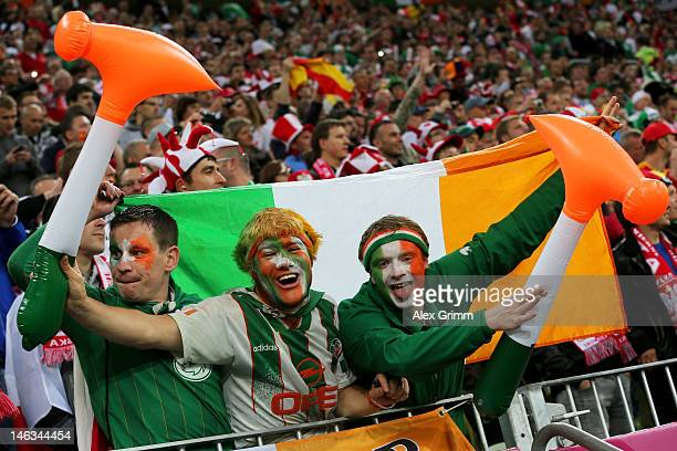 Republic of Ireland fans soak up the atmopshere during the UEFA EURO 2012 group C match between Spain and Ireland at The Municipal Stadium on June 14...