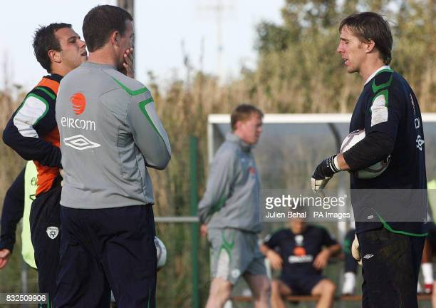 Republic of Ireland goal keeping coach Alan Kelly with goal keepers Wayne Henderson and Nicky Colgan during a training session in Malahide
