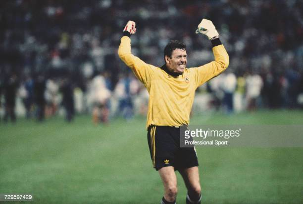 Republic of Ireland goalkeeper Packie Bonner raises both arms in the air in celebration during the Group F match between the Republic of Ireland and...