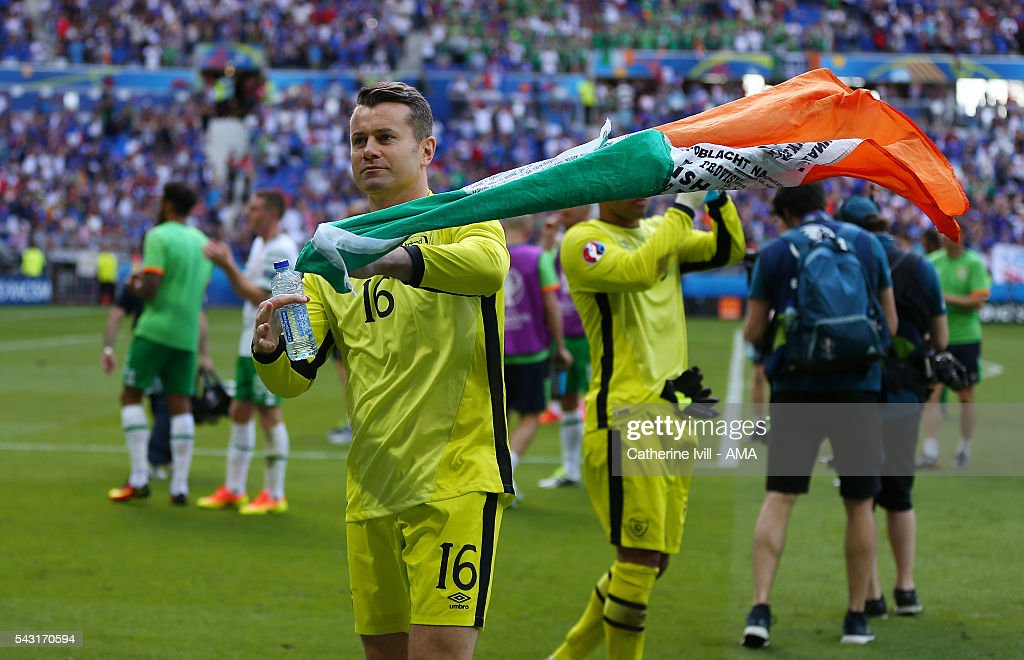Republic of Ireland goalkeeper <a gi-track='captionPersonalityLinkClicked' href=/galleries/search?phrase=Shay+Given&family=editorial&specificpeople=171084 ng-click='$event.stopPropagation()'>Shay Given</a> with a flag after the UEFA EURO 2016 Round of 16 match between France and Republic of Ireland at Stade des Lumieres on June 26, 2016 in Lyon, France.