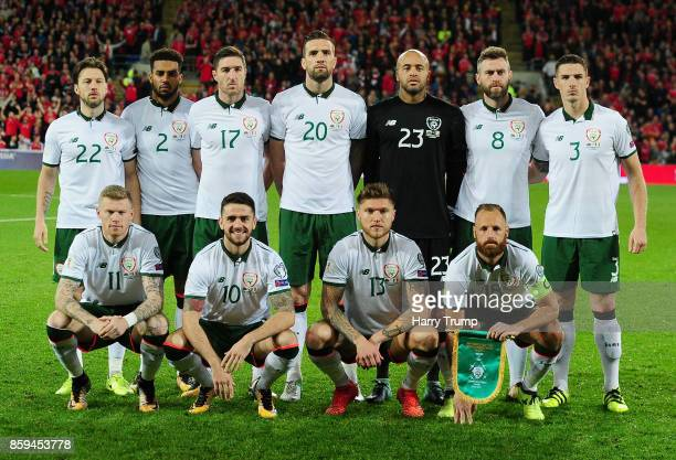 Republic of Ireland line up prior to the FIFA 2018 World Cup Group D Qualifier between Wales and Republic of Ireland at the Cardiff City Stadium on...