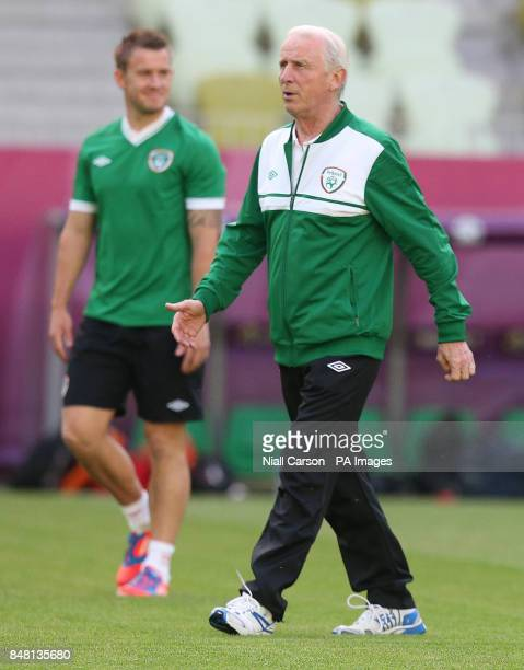 Republic of Ireland manager Giovanni Trapattoni and Simon Cox during a training session at the PGE Arena Gdansk Poland